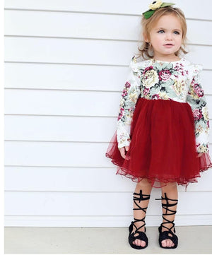 New Kids Girls Long Sleeve Flower Tulle Tutu Bow Dresses