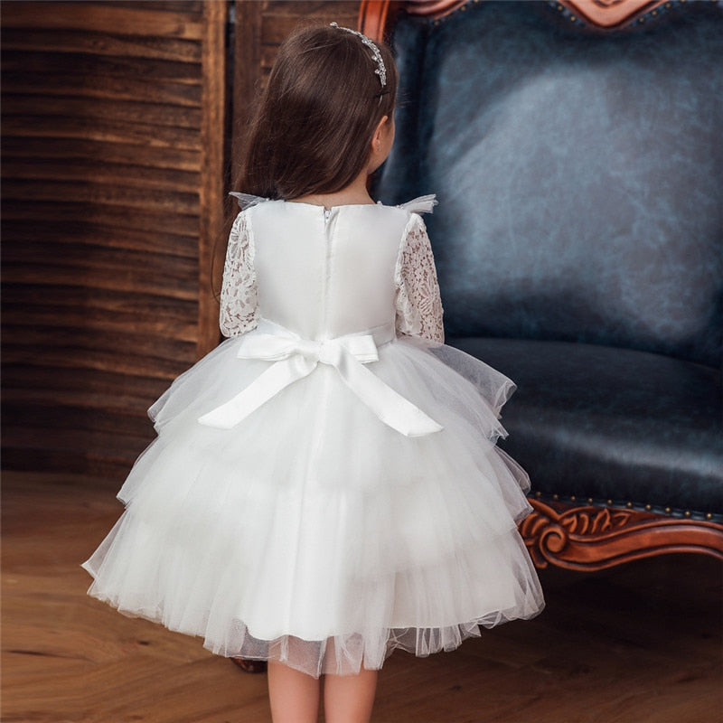 Baby Girl Lace Petal Princess Wedding Party Elegant Dresses