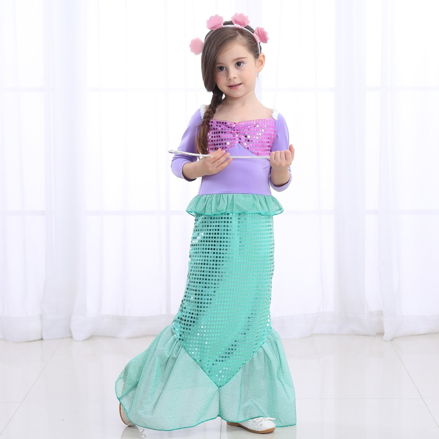 Girls Mermaid Dress Princess Halloween Christmas Party Cosplay Costume