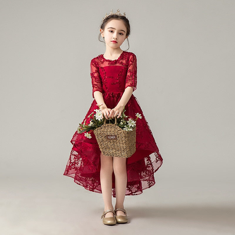 Girls Princess Dresses Flower Tulle Piano Dress 2-14Y