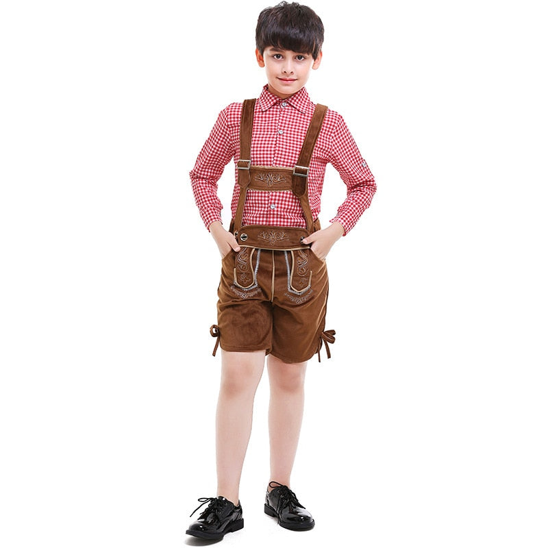 Child Lederhosen Rompers Beer Festival Party Carnival Costume