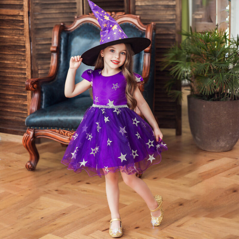 Halloween Costume - Toddler Halloween Party Purple Witches Witchery Hat and Costume Dress Set