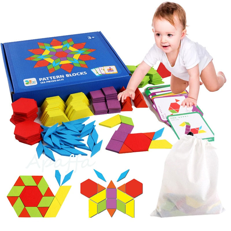 3D Wooden Pattern Blocks Set Geometric Manipulative Jigsaw Shape Puzzle
