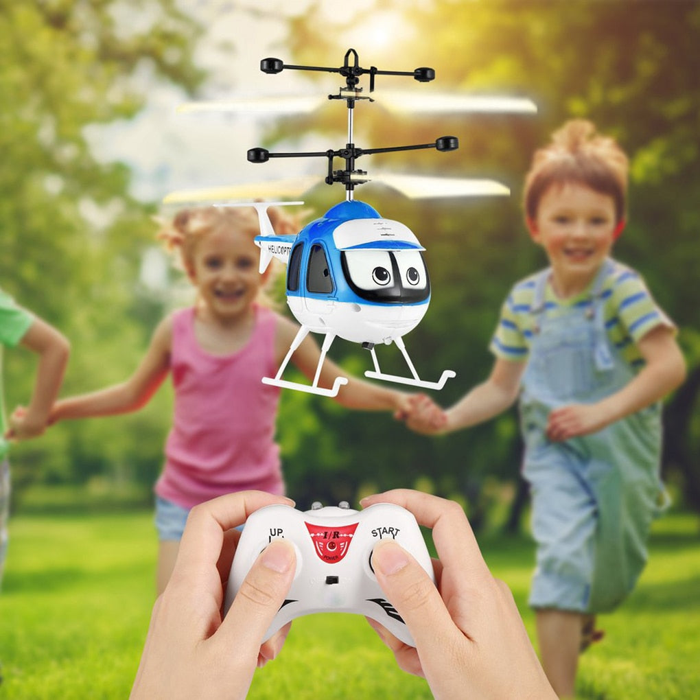 Mini Induction Toy Airplanes Flying Toys RC Plane Helicopter Cartoon Remote Control Drone Infrared Sensor Aircraft Drone For Kids