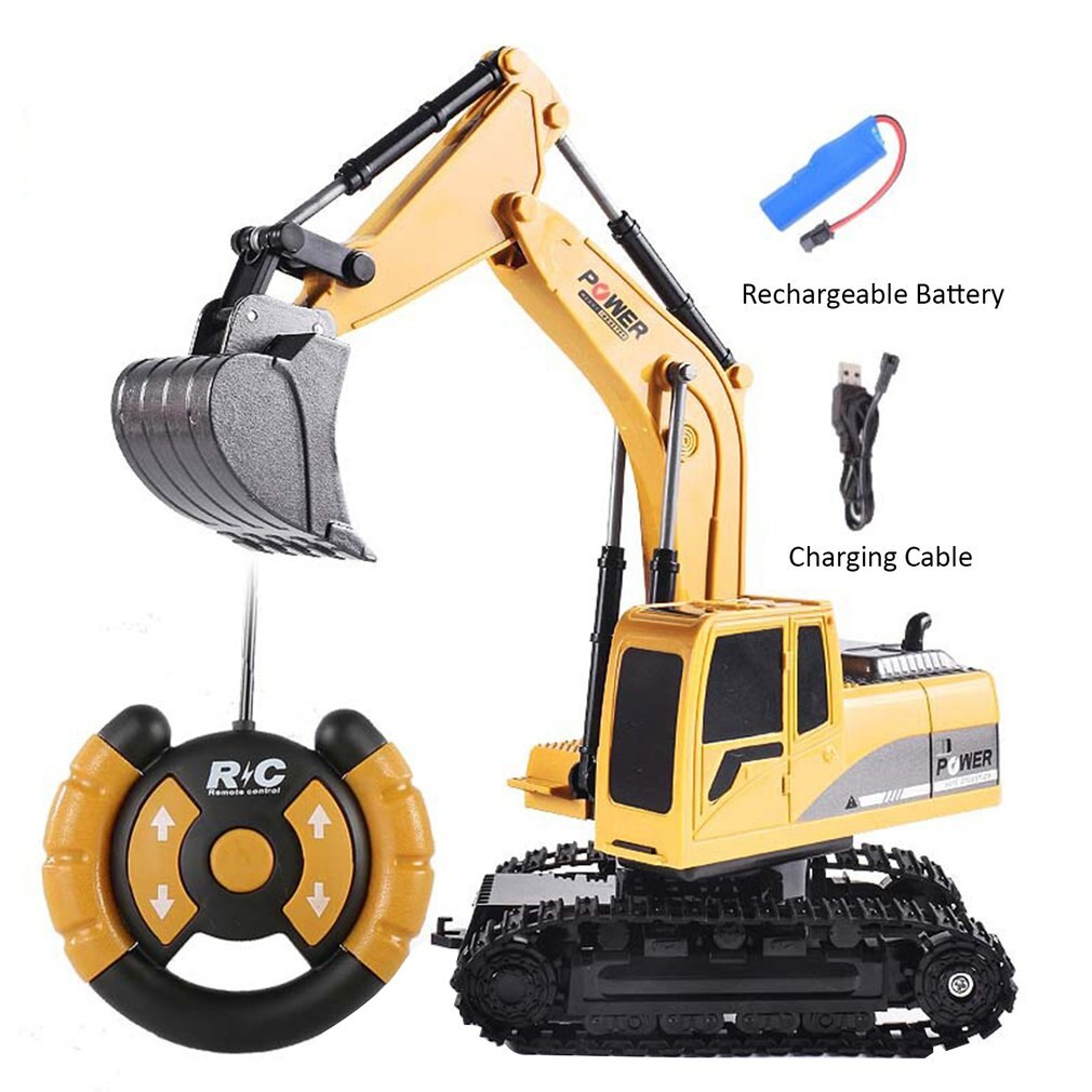 RC Excavator Toy 2.4G Remote Control Engineering Car With Light For Boys