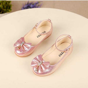 Girls Leather Princess Shoes Bowknot Pearl Diamond Kids Dance Shoes