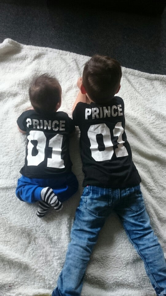 New 100% Cotton Casual T-shirt Family Matching King +Queen+Prince+Princess Letter Print Shirts