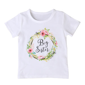 Summer Baby Kids Girl Little Big Sister Family Matching T-Shirt