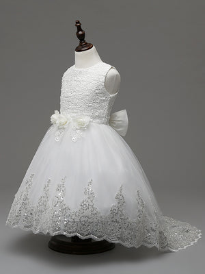 First Communion Dresses Mesh Trailing Girls Holy White Dresses