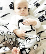 Fashion Baby Long Sleeve Cute Penguin T-shirt+Pants+Headband 3PCS Outfits