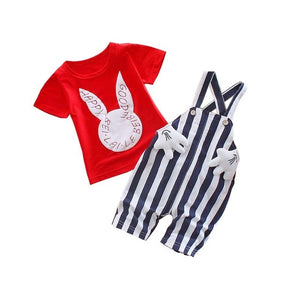 Baby Boys Summer T-shirt+ Overalls Pants 2PCS Outfits Sport Suits