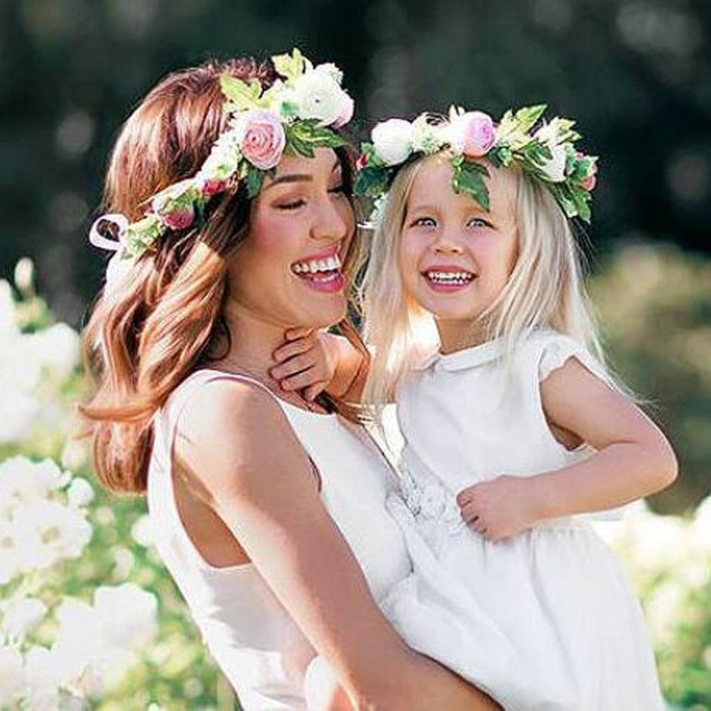 2 Pack Mommy & Me Flower Headwear Wedding Party Bohemia Seaside Wreath