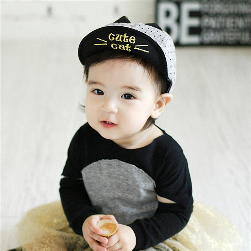 Summer Baby Boy Cute Baby Hats with Cat Ears Print  Animal  Baseball Sunhats Soft Caps