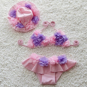 Girls Bikini Swimsuit  Floral Swimwear Baby Girls Two Pieces Suits