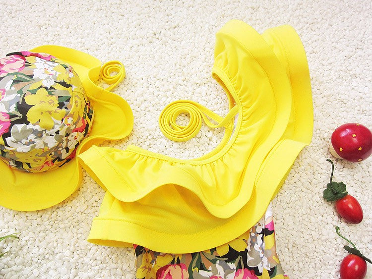 One Piece Swimsuit Floral Girl Bathing Suits Swimwear With Cap