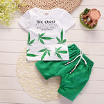 Summer Kids Leaf T-Shirt Shorts 2Pcs/Sets Toddler Baby Cotton Tracksuits