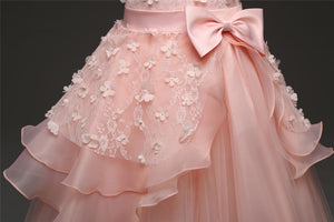 Girls Long Layers Tulle Flower Girl Dresses With Flowers Decoration