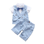 Toddler Boys Gentleman Suit Wedding Party Bowtie Shirt Vest + Shorts
