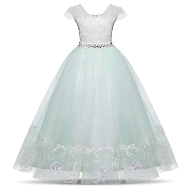 Floral Lace Backless Long Flower Girl Dresses Girls Bridesmaid Little Lady Dress
