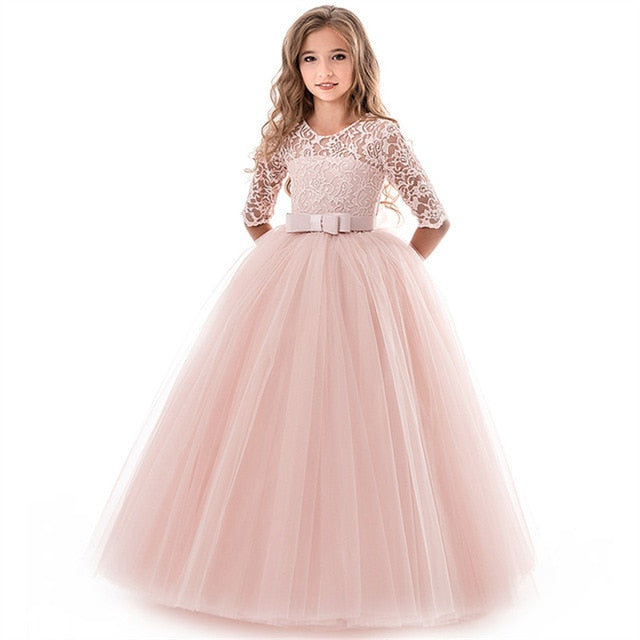 Girls Formal Dresses Long Kids Party Lace Gown Wedding Dresses