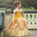 Kids Girl Princess Flower Performance Belle Halloween Party Ball Gown Dresses