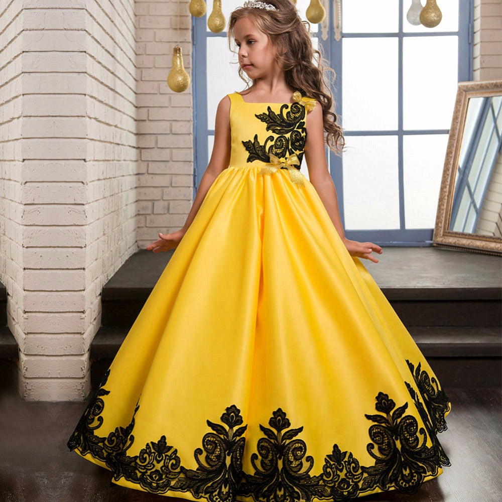 Flower Girl Dress Girls Elegant Embroidery Formal Dresses Pageant Wedding Graduation Prom Dresses