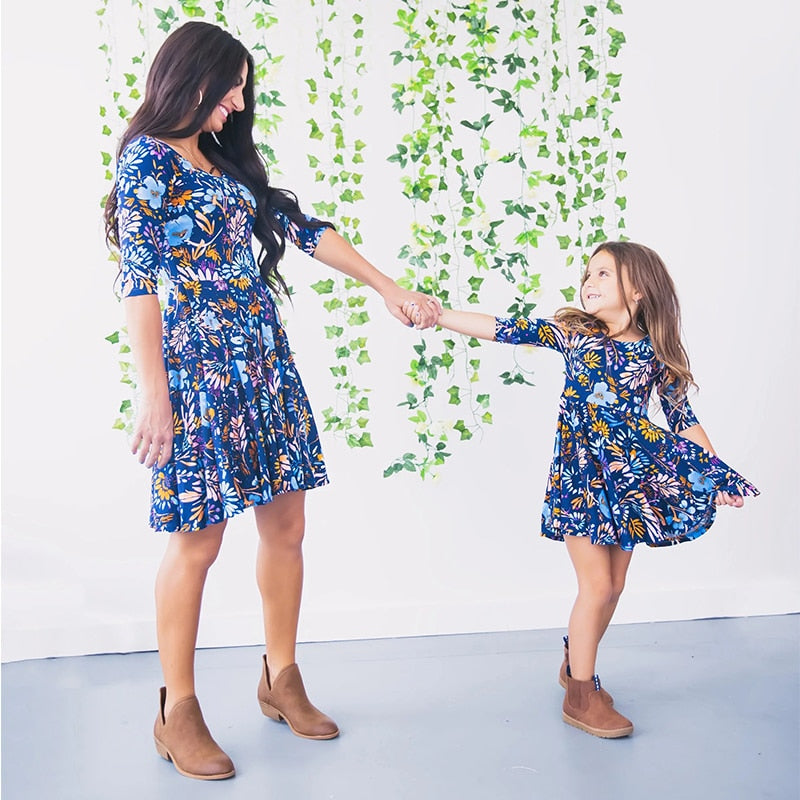 Mommy and Me Dresses - Blue Floral Printed Mommy and Me Matching Dress