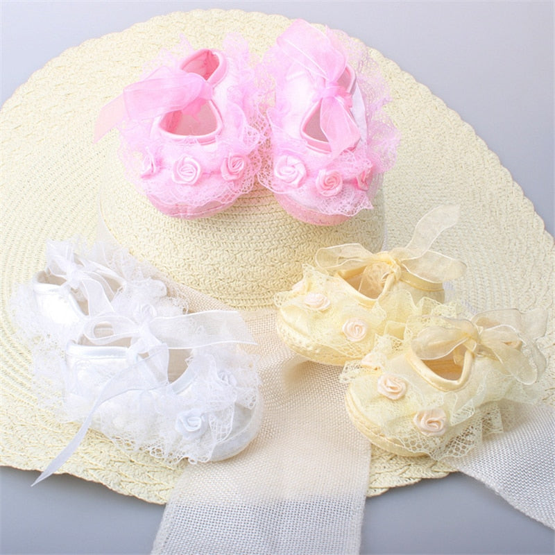 Newborn Baby Girl Shoes Princess Party Lace Floral Soft Shoes 0-12M
