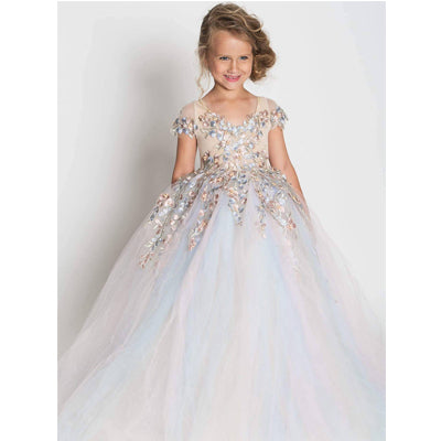 Sweet Flower Girl Wedding Tulle Lace Appliques Party Gown Pageant Dresses