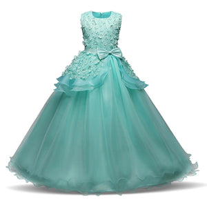 Girls Pageant Long Party Dress Floral Bow Graduation Gown Prom Dresses