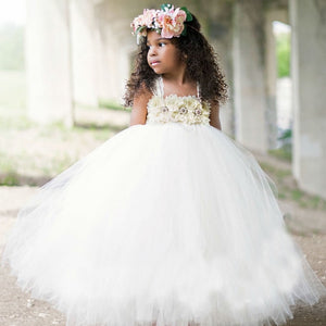 Girls Ivory Wedding Flower Tutu Birthday Pageant Party Dress