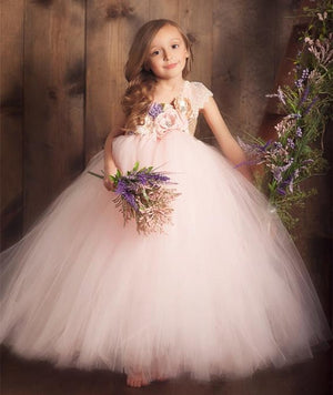 Flower Girl Tutu Dress One Shoulder Lace Princess Ball Gown Party Wedding Dresses