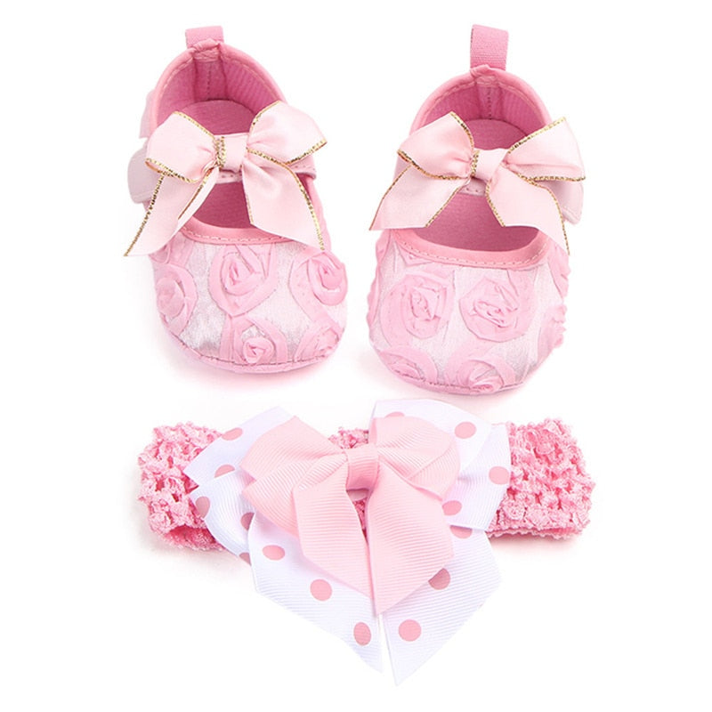 Toddler Girls Shoes Sweet Floral Walking Soft Shoes Bow Ribbon Headwear