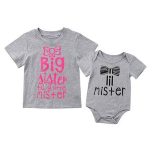Sweet Family Matching Kids Baby Little Brother Romper/Big Sister Short Sleeve Cotton T-shirt Tops