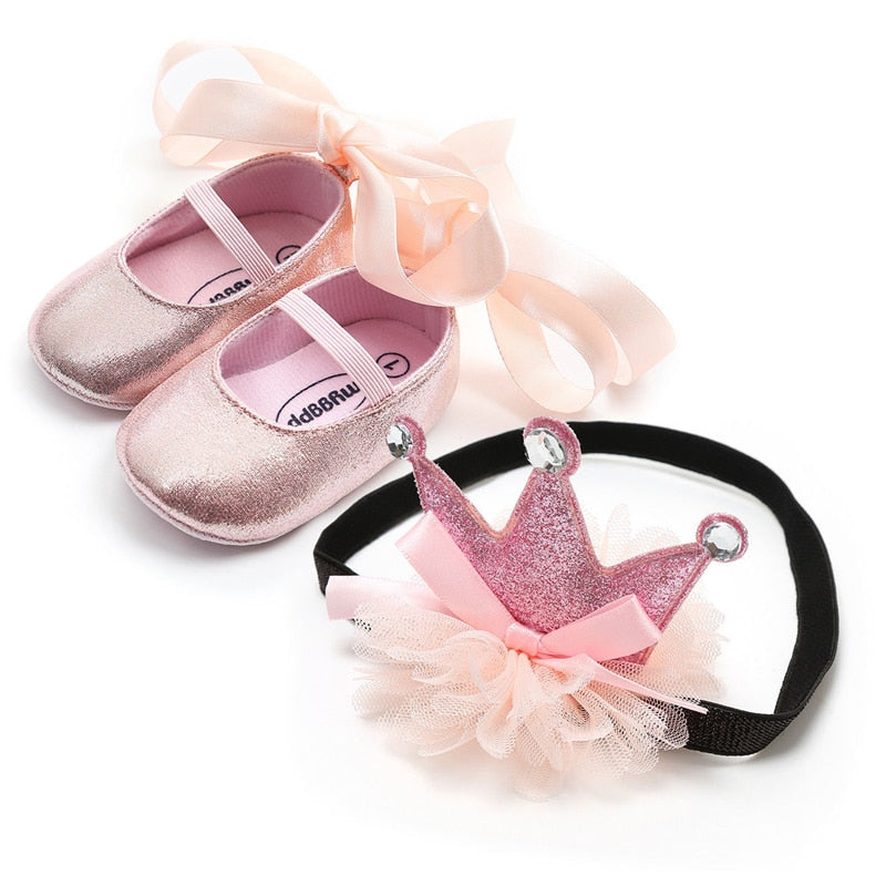 Newborn Baby Shoes Princess Party Wedding Headband Soft Walker Shoes