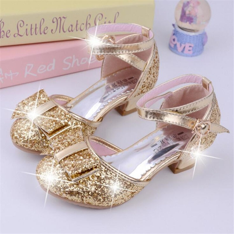 Girls Princess Glitter Bow Tie Shoes Mini Heels with Ankle Strap