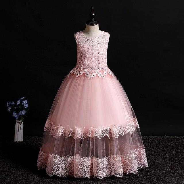 Flower Girl Dress Kids Wedding Party Birthday Dresses First Communion Dress With Beading