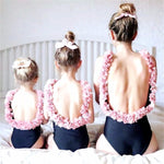 Family Matching Swimsuits Mother Daughter Bikini Beach Floral Cute One-Piece Outfits