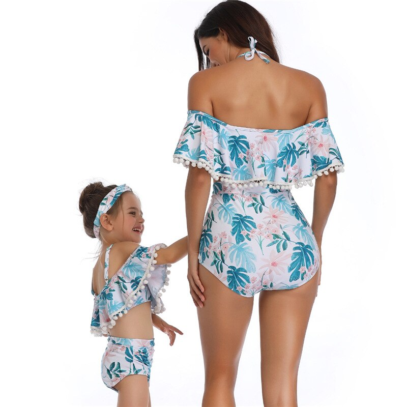 Fashion Family Matching  Mother-Daughter Dresses Bikini Swimwear