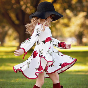 Kids Girls Dress  Floral Long Sleeve Party Princess Dresses