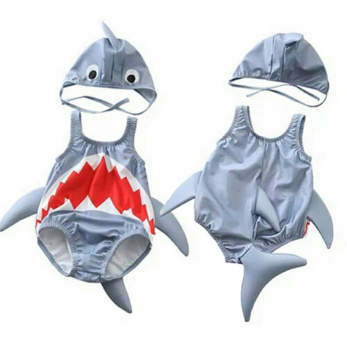 Girl Boy Swimsuits Bikini Cartoon 3D Shark Swimwear Bathing