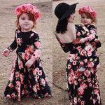 Mommy and Me-Family Matching Mother Daughter Floral Party Long Sleeve Dresses