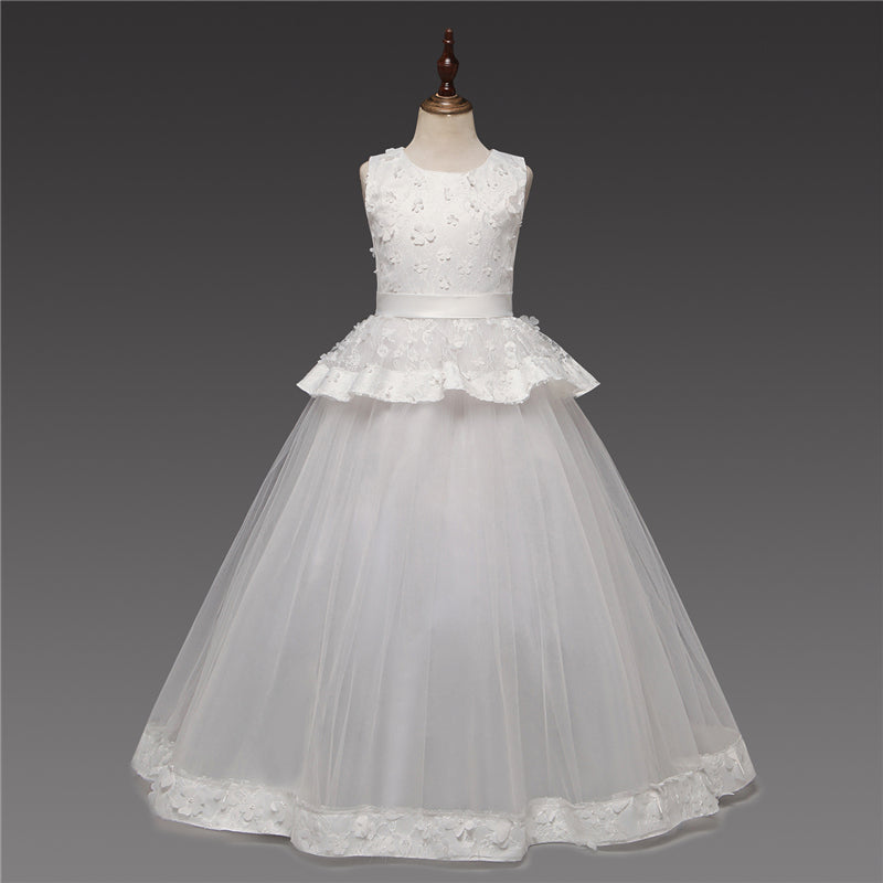 Girls White Layered First Communion Dresses