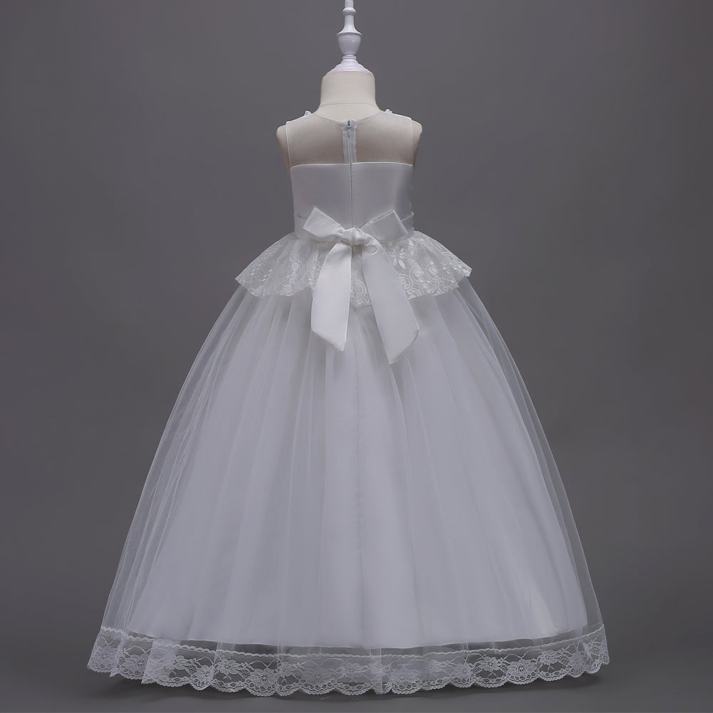 White Lace Girls First Holy Communion Dresses