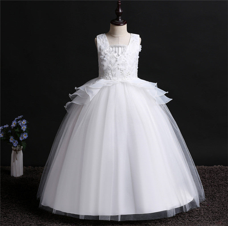 White Tulle Girls First Communion Dresses