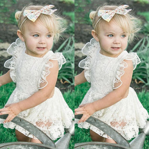 Toddler  Baby Girls White Lace  Ruffles Sleeve Party Wedding Princess Dress