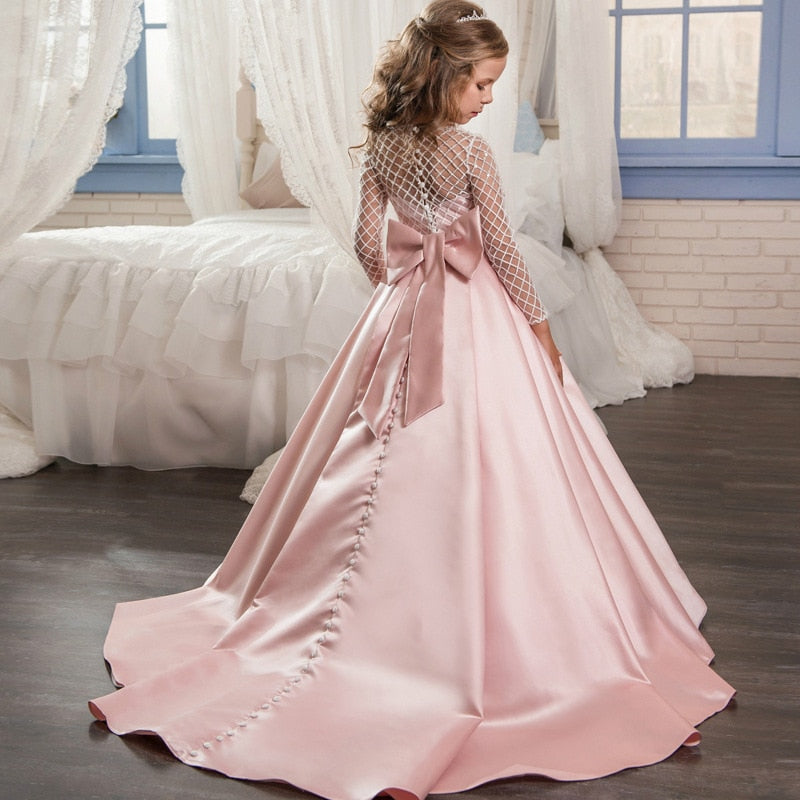 Flower Girl Dress Floor Length Draped Satin Girls Pegeant First Communion Dresses