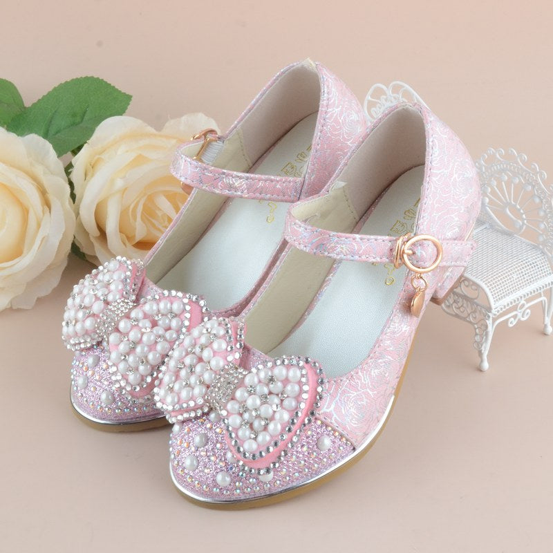 Girls Heeled Leather Shoes Party Dance Princess Shoes