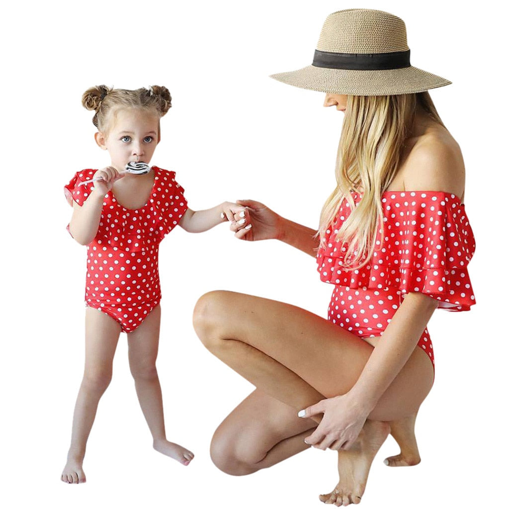 Family Matching Mommy and Me One-Piece Swimsuit Mum Baby Sexy Swimwear