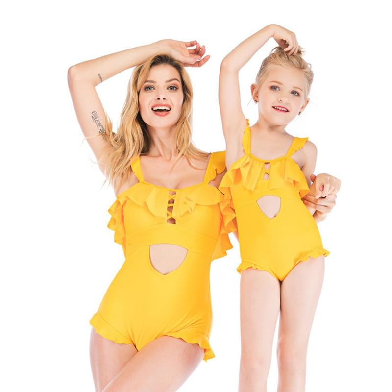 Mommy and me Swimsuit Yellow Ruffles Sexy Swimwear Summer Beachwear Family Matching